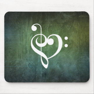 Green Vintage Grunge Treble & Bass Clef Heart Mouse Pad