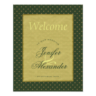 Green vintage royal lily flower wedding welcome poster