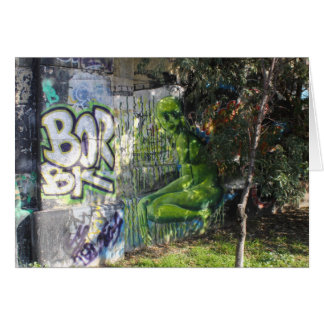 Green Visitor From Outer Space Graffiti Greeting Cards
