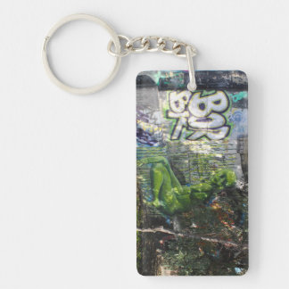 Green Visitor From Outer Space Graffiti Double-Sided Rectangular Acrylic Key Ring
