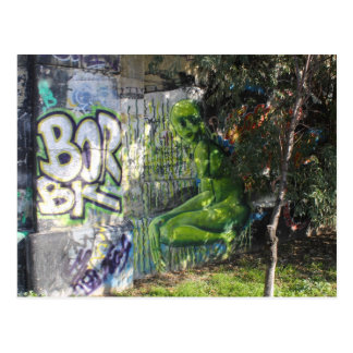 Green Visitor From Outer Space Graffiti Post Card