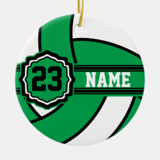 Green Volleyball   DIY Name and Number Round Ceramic Decoration