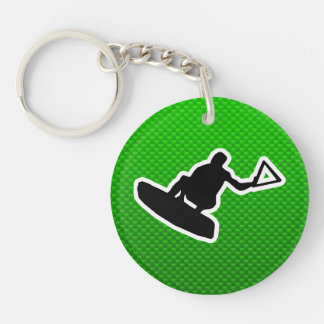 Green Wakeboarder Double-Sided Round Acrylic Key Ring