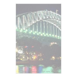 Green water, Harbor Bridge at night, Sydney, Austr Stationery Paper