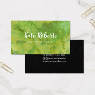 Green Watercolor business card   eco professional