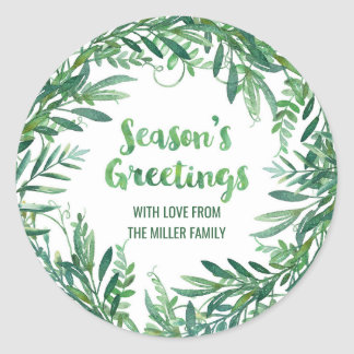 Green Watercolor Foliage Season's Greetings Custom Classic Round Sticker