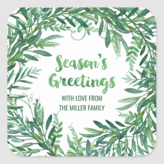 Green Watercolor Foliage Season's Greetings Custom Square Sticker