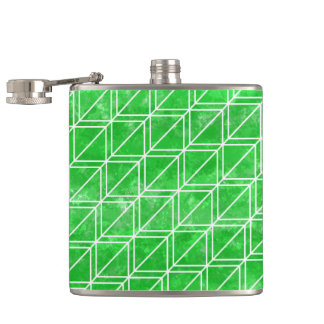 Green Watercolor Geometric Pattern Flask