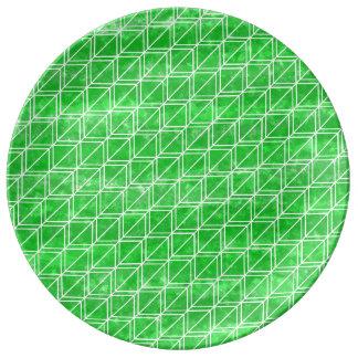 Green Watercolor Geometric Pattern Porcelain Plates