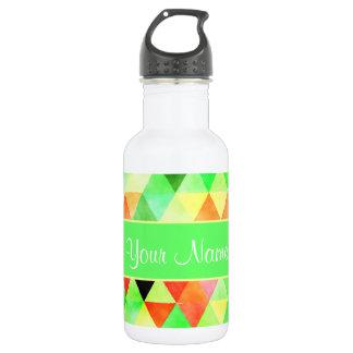 Green Watercolor Geometric Triangles 532 Ml Water Bottle
