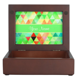 Green Watercolor Geometric Triangles Keepsake Box