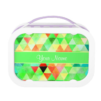 Green Watercolor Geometric Triangles Lunch Box