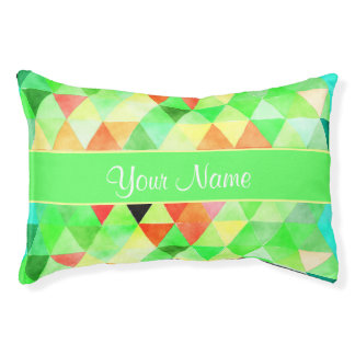 Green Watercolor Geometric Triangles Pet Bed