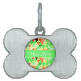 Green Watercolor Geometric Triangles Pet Name Tag