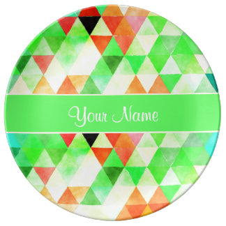 Green Watercolor Geometric Triangles Plate