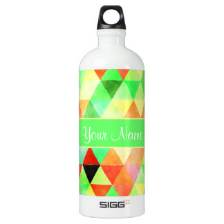 Green Watercolor Geometric Triangles SIGG Traveller 1.0L Water Bottle