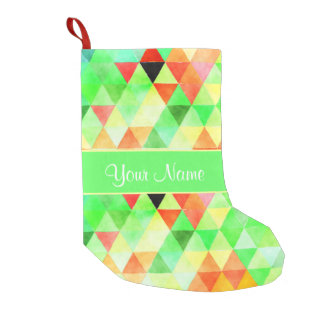 Green Watercolor Geometric Triangles Small Christmas Stocking
