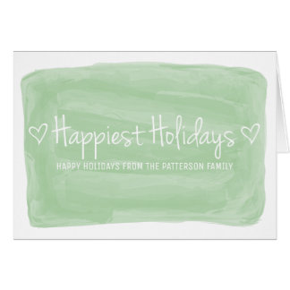 Green Watercolor Happiest Holidays Card