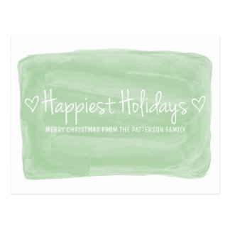 Green Watercolor Happiest Holidays Postcard