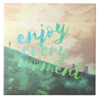 Green Watercolor Jogging Running Inspirational Tile