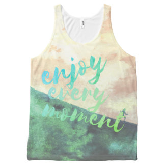 Green Watercolor Jogging Running Typography All-Over Print Singlet