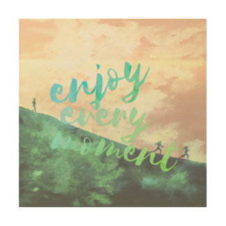 Green Watercolor Jogging Running Typography Wood Wall Decor
