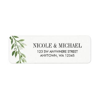 Green Watercolor Laurel Leaf Wreath Return Address Label