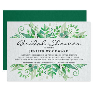 Green Watercolor Leaves Bridal Shower Invitation