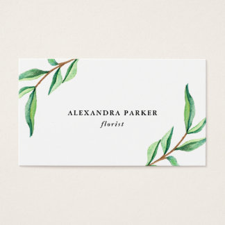 Green Watercolor Leaves on White Business Card