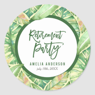 Green Watercolor Leaves Tropical Retirement Party Classic Round Sticker