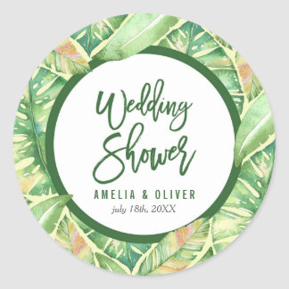 Green Watercolor Leaves Tropical Wedding Shower Classic Round Sticker