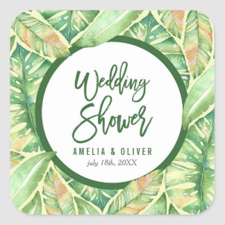 Green Watercolor Leaves Tropical Wedding Shower Square Sticker