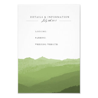 Green Watercolor Mountain Information Card