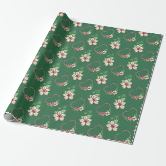 Green Watercolor Poinsettias & Hearts Gift Wrap