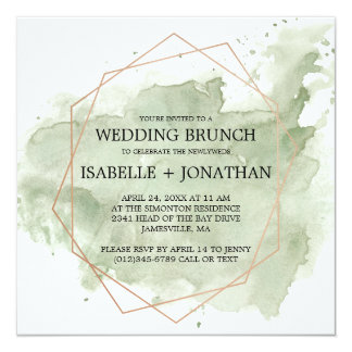 Green Watercolor Post-Wedding Brunch Invitations