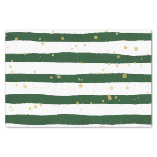 Green Watercolor Stripes With Gold Speckles Tissue Paper