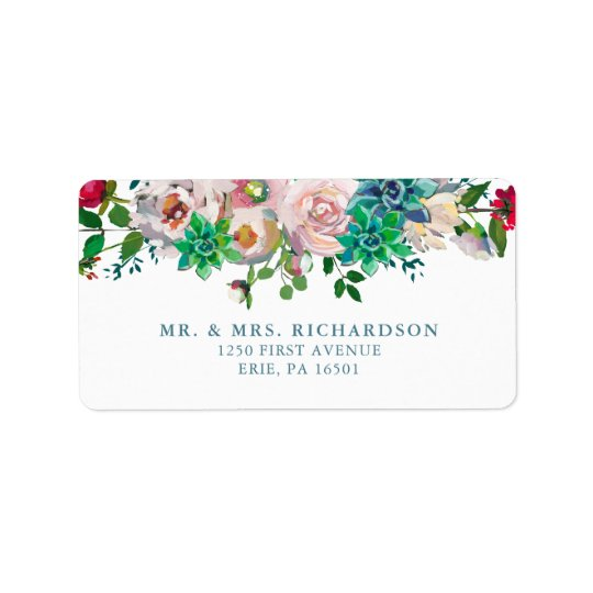 Green Watercolor Succulents and Flowers | Wedding Address Label