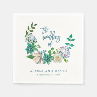 Green Watercolor Succulents and Flowers | Wedding Disposable Serviette
