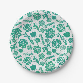Green Watercolor Succulents Chic Botanical Paper Plate