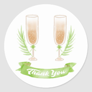 Green Watercolor Thank You Champagne Glasses Classic Round Sticker