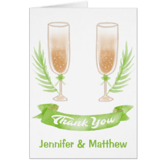 Green Watercolor Thank You Wine Glasses Card