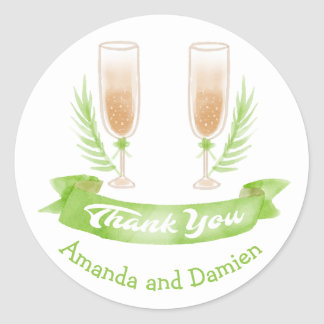 Green Watercolor Thank You Wine Glasses Wedding Classic Round Sticker