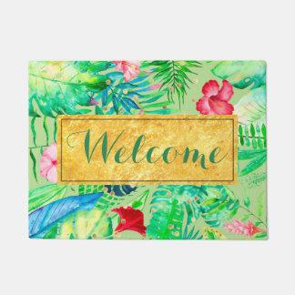 green watercolor tropical jungle welcome doormat
