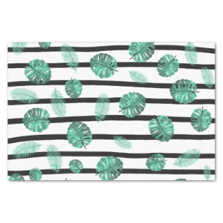 Green watercolor tropical leaf stripes pattern tissue paper