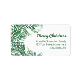 Green Watercolor Tropical Leaves Christmas Address Label