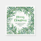 Green Watercolor Tropical Leaves Christmas Napkin Paper Napkin