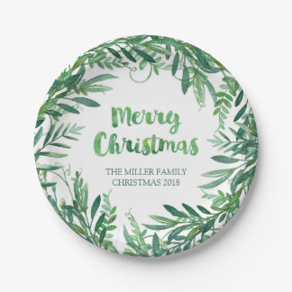 Green Watercolor Tropical Leaves Christmas Plates