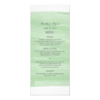 Green Watercolor Wedding Menu 4x9.25 Paper Invitation Card