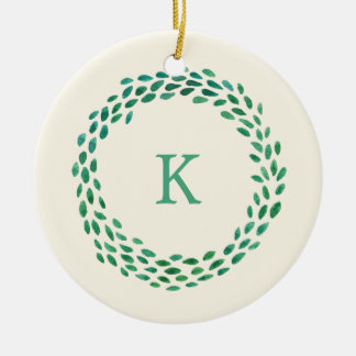 Green Watercolor Wreath with Monogram on Ivory Round Ceramic Decoration