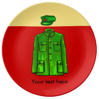Green Watercolour Chairman Mao Coat and Hat Porcelain Plates